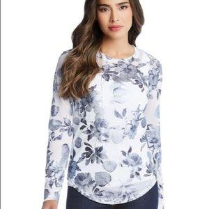 KarenKane Metallic Floral Long Sleeve Top NWT